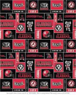 College University of Alabama Crimson Tide Square Print Fleece Fabric