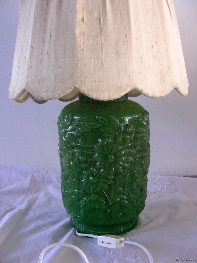 Floral Daisy Reverse Painted Glass Textured Lamp Depression Era