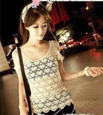 Women Ladies Knitting lace crochet strapless tank top lovely Sleeve