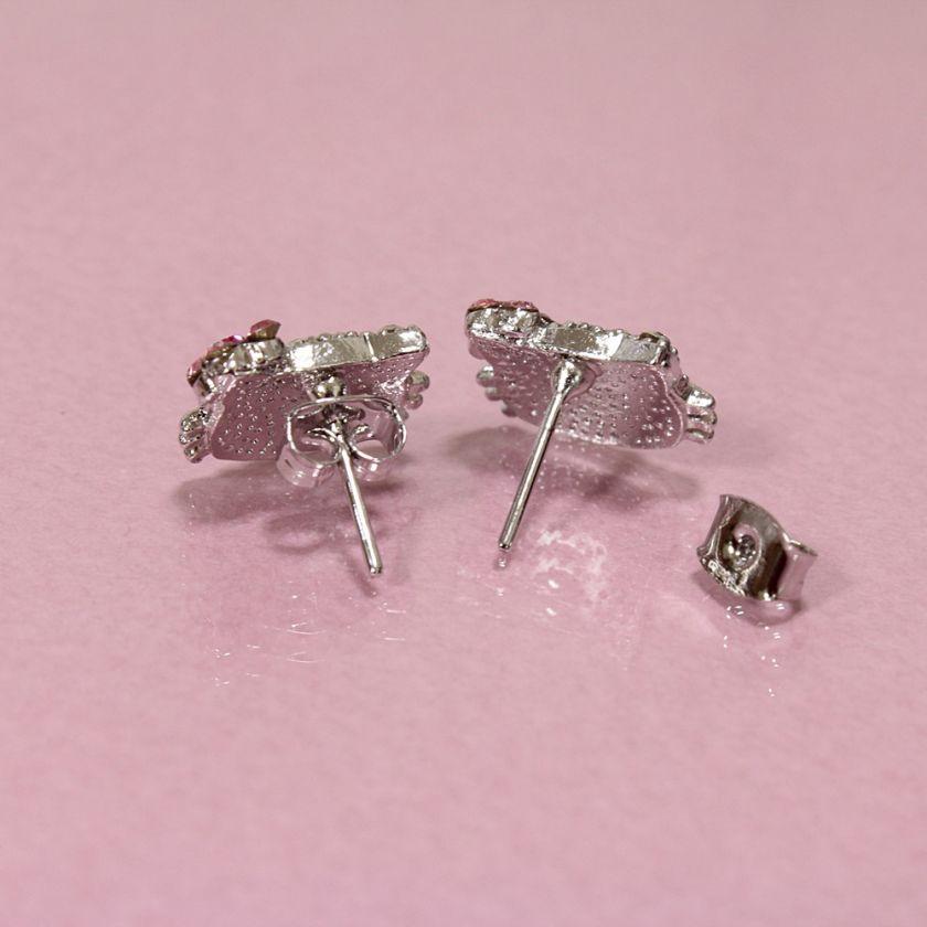Cute Hello Kitty Bling Swarovski Crystal Earrings Ear Stud