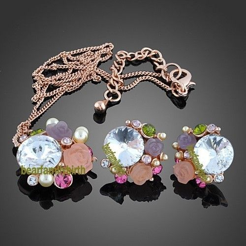 18K gold Gp Swarovski Crystal rose jewelry set 829