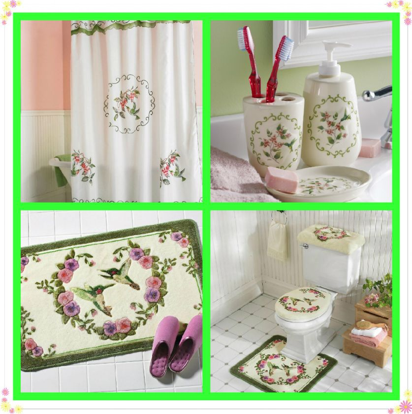 Hummingbird Shower Curtain Bath Soap Holder Toilet Cover