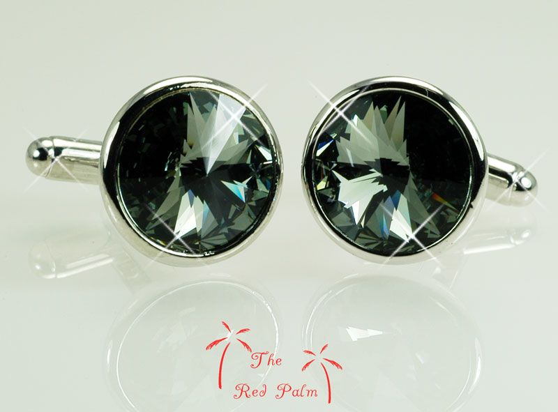 White Gold PLATED Mens Silver CUFFLINKS use SWAROVSKI CRYSTAL